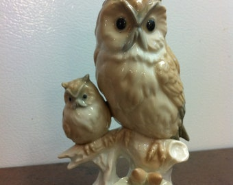 Vintage Owl Figurine - Porcelain by Otagiri of Japan - Two Perched Owls - Gift for the Collector