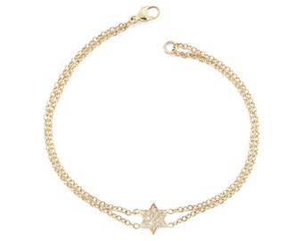 Gold Star Of David Bracelet, Magen David Bracelet, Diamond Star Of David, Jewish Star Bracelet, Bat Mitzvah Gift, Jewish Jewelry, Judaica