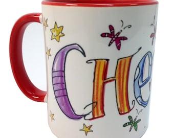 Mug with boss, Red