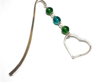 Silver jewelry, green beads heart bookmark