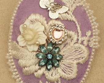 Shabby Chic Beaded Brooch/Pin with Vintage Lace and Embellishments