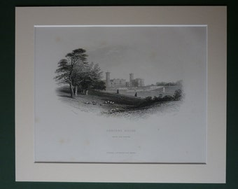 1896 Antique Print Of Osborne House - Queen Victoria - English Stately Home - British Countryside - Royalty - Royal Family - Matted Print