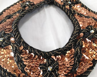 Sequin Collar With Flowers And Leaf Motifts/Brown, Black Beading Around The Edges/Sew On/New (B)