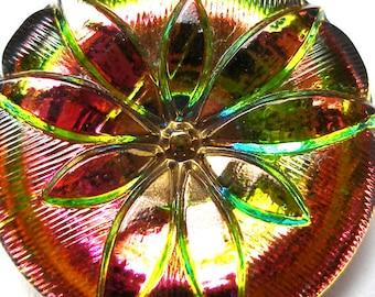 Verre tchèque bouton, rose, vert & jaune 1 pouce, 27mm.