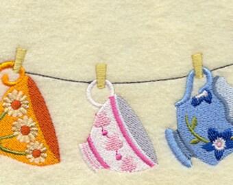 Tea Cup Clothesline Embroidered Flour Sack Hand/DIsh Towel