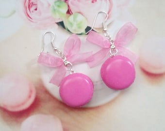 earrings raspberry macarons polymer clay
