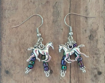 Horse Earrings With Beads
