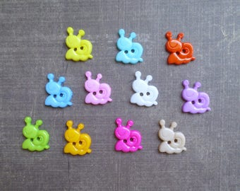 30 buttons shaped small snail mix colors 1.5 cm