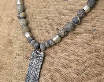 Pewter Cross Pendant - Primitive Necklace - Rustic Necklace - Frontera Roots - Cross Necklace - Rustic Jewelry