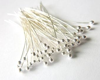 100pcs - 30 Gauge Fine Silver Headpins  - Choose Your Length  - Tagt Team