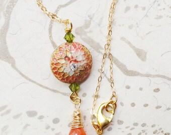 Orange Autumn Cloisonne Necklace by MinouBazaar