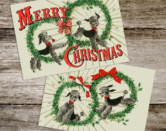 1950's Retro Atomic Kitsch Christmas Poodle Prints from Curious London