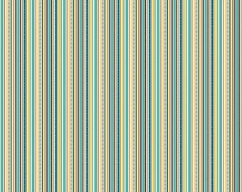 Blue Yellow Green Stripe Cotton Fabric in Yard, 3/4, Half and 1/4 Little Ayers Stripe for Quilting Sewing Applique by Riley Blake
