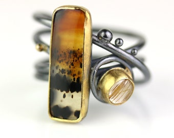 Montana Moss Agate on Swirled Band with Golden Rutile Accent. Size 8 1/2.
