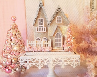 Lighted Glitter Putz House w/Shabby Pink accents & Bottle Brush Trees