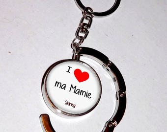 bag hook Keychain, glass cabochon 30 mm, i love my grandma (with the child's name or without your choice)