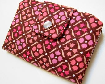 Bifold Snap Wallet - Pink diamonds on brown