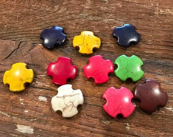 Howlite cross beads, various colors, top drilled