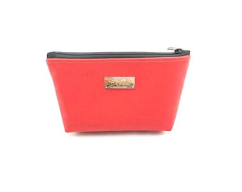 "9"" x 5"" - Bright Red Cork Gadget Bag - zipper pouch - Bag organizer"