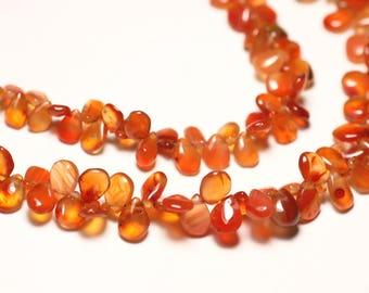 10pc - stone beads - carnelian drops 5-8mm N1 - 8741140022751