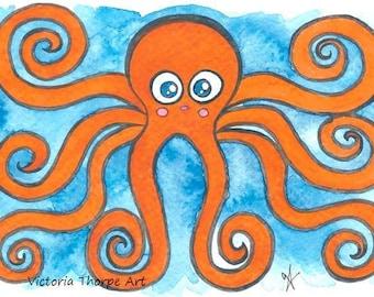 Original Art - Octopus - Summer Beach Nautical Sea Orange Blue Seaside Cute Kawaii Japanese Anime Manga Cartoon Character