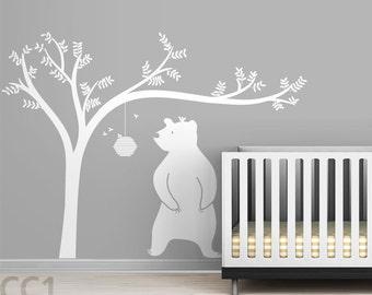 Honeyland Wall Decal - White Tree Decal and Cute Bear - Kids room decor