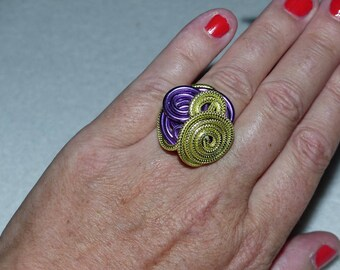 Purple and lime green aluminum ring size 54