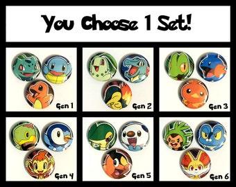 Pokemon Starters Button Pinback Sets! (You Choose 1)