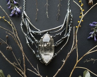 Twisted Vine Necklace with Quartz - Sterling Silver - made by Jamie Spinello