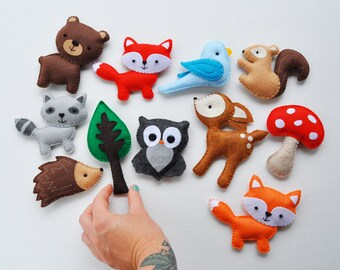 Plush Woodland Creatures - Deer, Bear, Owl, Blue Bird, Squirrel, Porcupine, Raccoon, Red Fox, Orange Fox, Mushroom, Tree