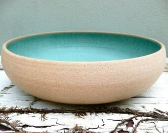 Personalized Wedding Gift, Wedding Bowl, Large Pottery Bowl, Blue Pottery, Fruit Bowl, Handmade Pottery, Bridal Registry, Something Blue