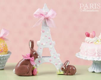 """MTO-An """"Easter in Paris"""" Eiffel Tower and Chocolate Bunny Decoration for Spring (Pink Ribbon) - Miniature Decoration in 12th Scale"""