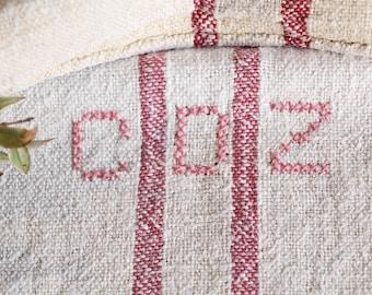 B 837: Sac de Grain antique lin, belle rouge RASPBERY fané, oreiller benchcushion 리넨, lin, 40,94 long, mariage, décoration