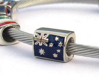 Australia Flag Sterling Silver Large Hole European Bead for Bracelets