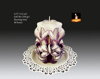 Candles - Candle -  carved candles - hand carved candle - Small purple candle