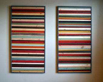 Reclaimed Wood Wall Art - Wood Sculpture - 24x48 Set
