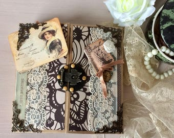 vintage or junk journal 32 scrapbook album pages personalized name or title