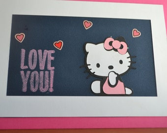 Helllo kitty ...love you home made card