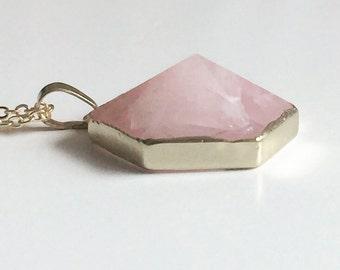 Rose  Quartz Necklace, Boho Gemstone, Layering Necklace