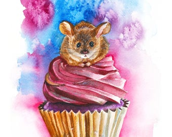 Mouse on Cupcake Print of Watercolor Painting // 8x10 // pastry art, food art, mouse art, rodent art, cute art