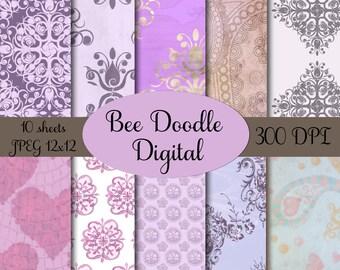 Digital Scrapbook Paper,  Printable Paper, Digital Paper, Digiscraps, Lavender, Purple,