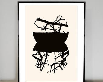 Twig Slice Emerging, black and white abstract print, trees, circles, watercolour paper