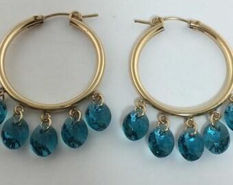 Gold-Filled & Indicolite Swarovski Crystals Hoop Earrings