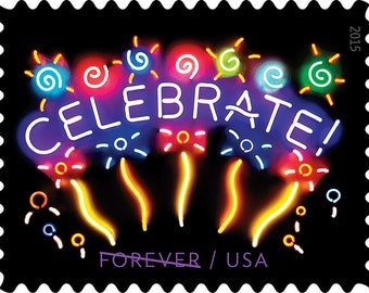 10 Unused CELEBRATE Postage Stamps // Neon Fireworks Celebration Stamps // Forever Postage Stamps for Mailing