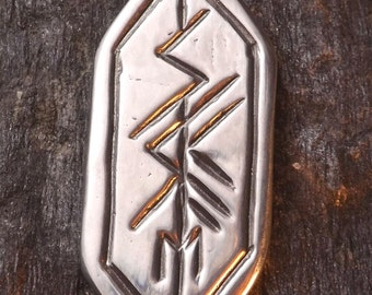 Mysteries Rune - Pewter Pendant - Celtic, Norse Nordic Jewelry, Spiritual Guidance and Awakening Path, Renaissance, Viking, Futhark, Elder.