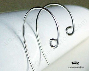 20 pcs 925 Sterling Silver Simple Hook Earwires Ear Wire Earring F418