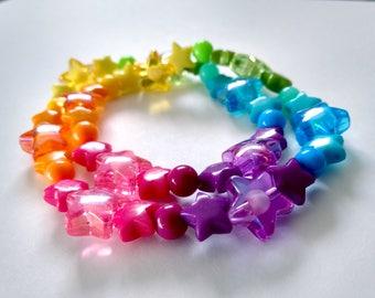 Rainbow Shooting Star Bracelet or Necklace - Kawaii Jewelry Pop Kei Jewelry Decora Jewelry Fairy Kei Jewelry Oshare Kei Party Kei