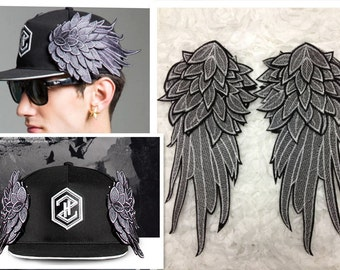 Fashion wings lace patch applique Embroidered sweatshirt hat bags decoration accessories 29 cm*14.5 cm one pair
