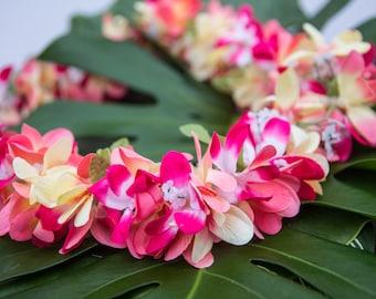Silk flower necklace etsy deluxe silk flower lei pink peach plumerias mightylinksfo Image collections