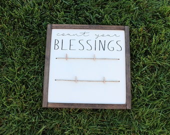 Count You Blessings With Twine FARMHOUSE SIGN